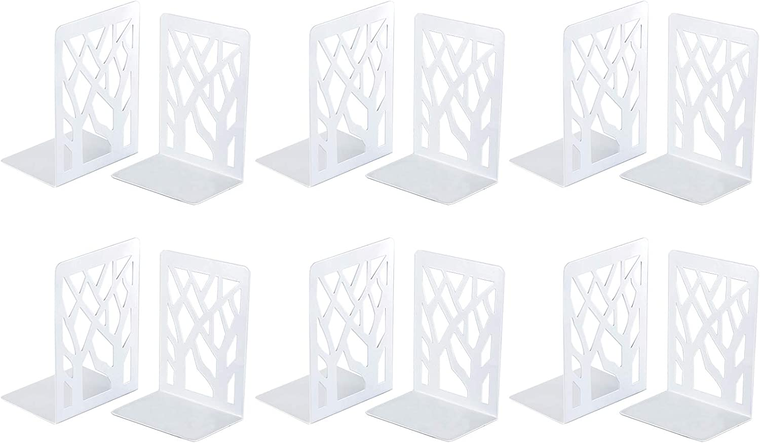 Book Ends, Bookends, Book Ends for Shelves, Bookends for Shelves, Bookend, Book Ends for Heavy Books, Book Shelf Holder Home Decorative, Metal Bookends White 6 Pair, Bookend Supports, Book Stoppers