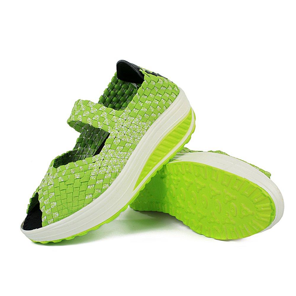 YMY Women's Woven Sneakers Casual Lightweight Sneakers - Breathable Running Shoes B07DXRPRZJ EU37/6.5 B(M) US Women|Green3