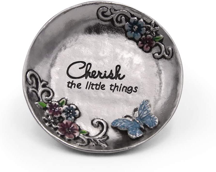 """LARAINE Jewelry Dish Display Trinket Tray Round Bowl Home Decorative Organizer Gift Necklace Earring Rings Holder Storage 3"""" (Round Silver)"""
