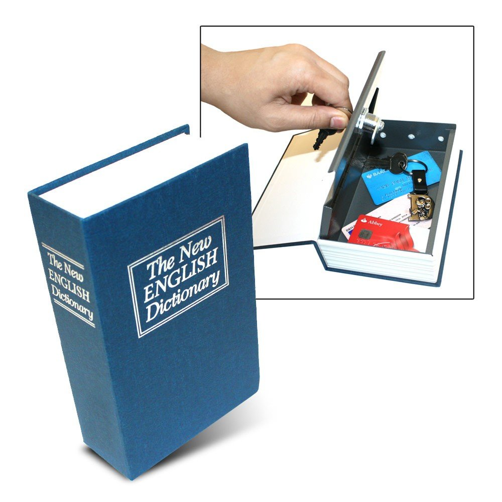 Dictionary Secret Book Hidden Safe with Key Lock, Large, Blue the Original From Diny Home & Style
