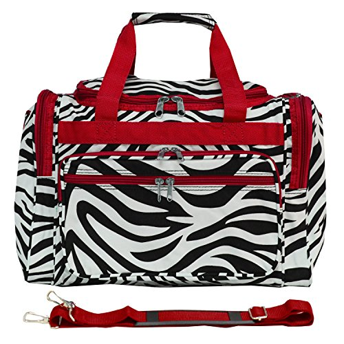 Red Trim Zebra - World Traveler 81T16-163-R  Duffle Bag, One Size, Red Trim Zebra