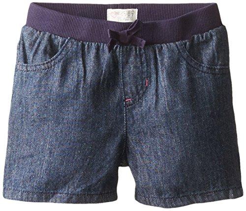 The Children's Place Little Girls' Denim Knit Waistband Short, Dark Denim, 2T