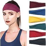 PLOVZ 6 Pack Women's Yoga Running Headbands Sports Workout Hair Bands (Set 1)