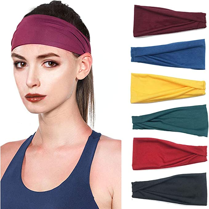 PLOVZ 6 Pack Womens Yoga Running Headbands Sports Workout Hair Bands