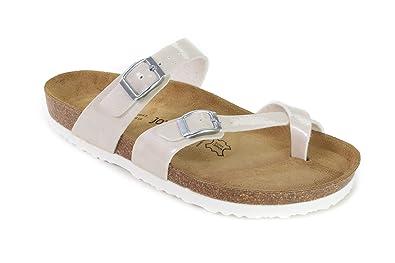 a4717526191760 JOE N JOYCE Women Cork Sandals Milano Slippers Soft-Footbed Hammertone  SynSoft Regular Beige Size