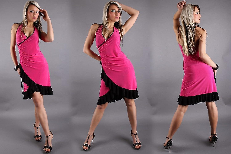 pink black mini club latino evening dress one size 8 /10/12 salsa style