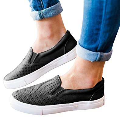 6cc1dbdff17d Paris Hill Women s Perforated Slip-On Sneaker Casual Flat Walking Shoes  Black US 5.5