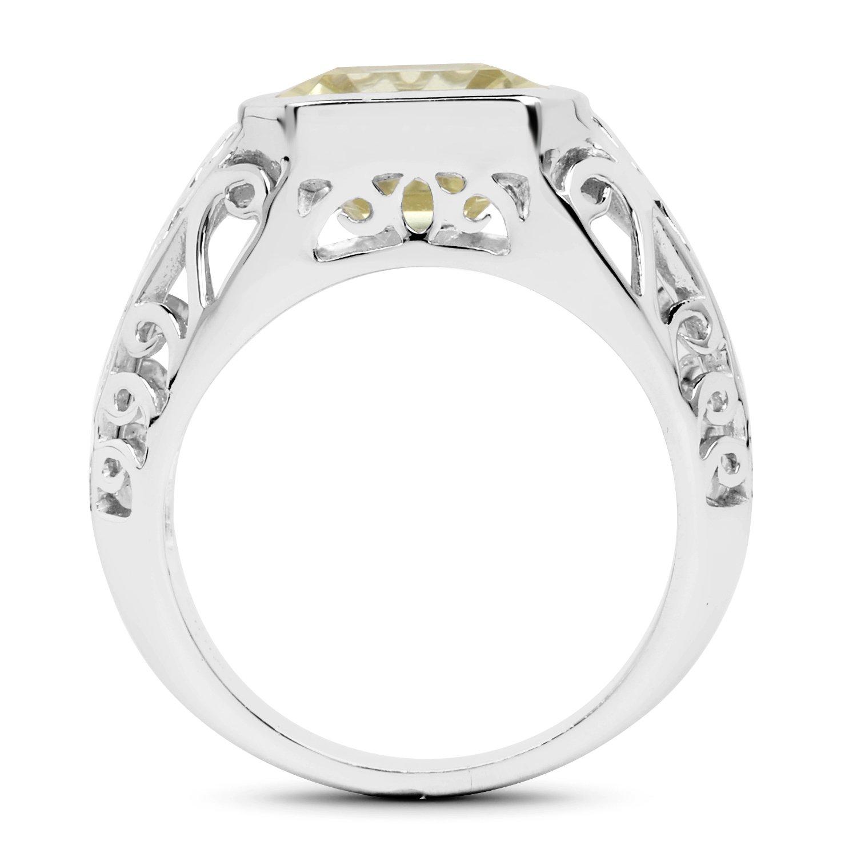 Johareez 5.65 cts Lemon Quartz .925 Sterling Silver Rhodium Plated Ring for Women