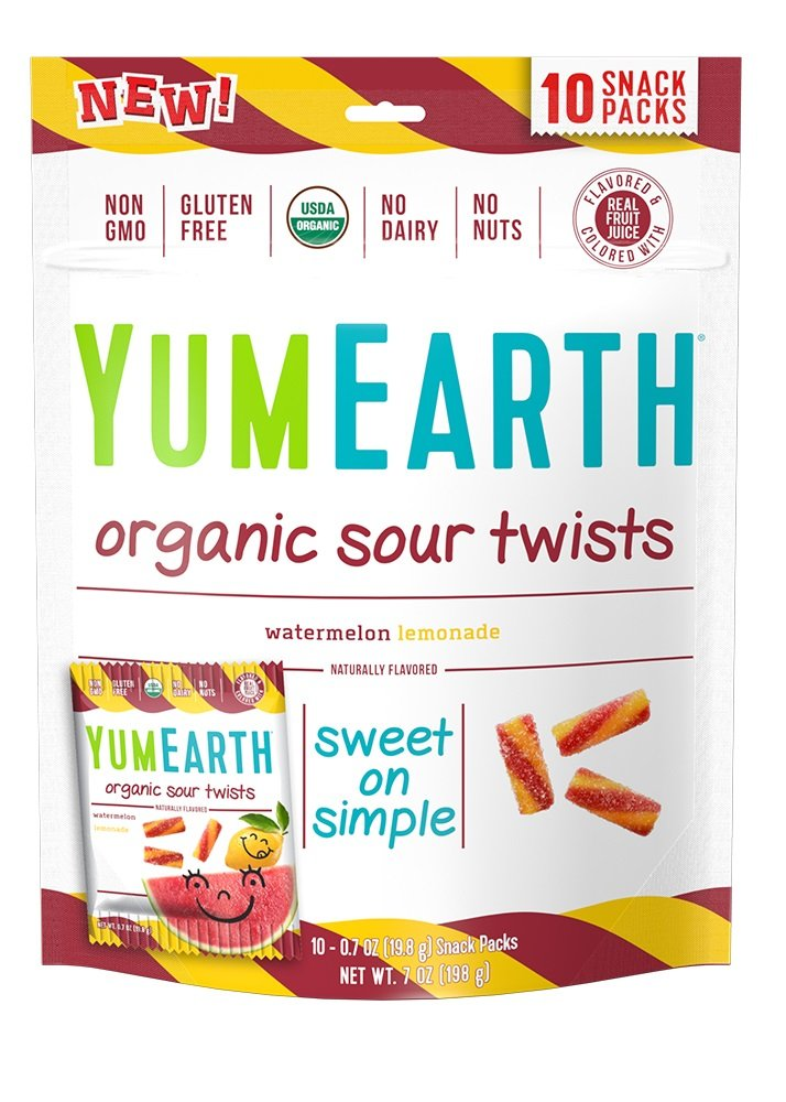 YumEarth Organic Gluten Free Sour Twists Snack Packs, Watermelon Lemonade, 12 Count by YumEarth