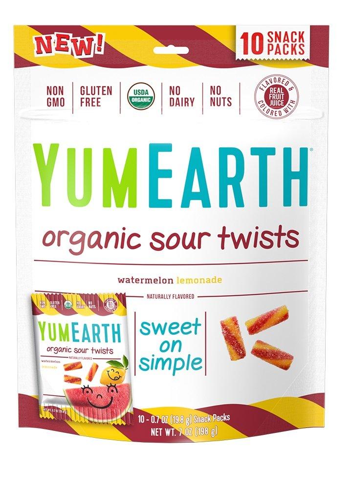 YumEarth Organic Gluten Free Sour Twists Snack Packs, Watermelon Lemonade, 12 Count