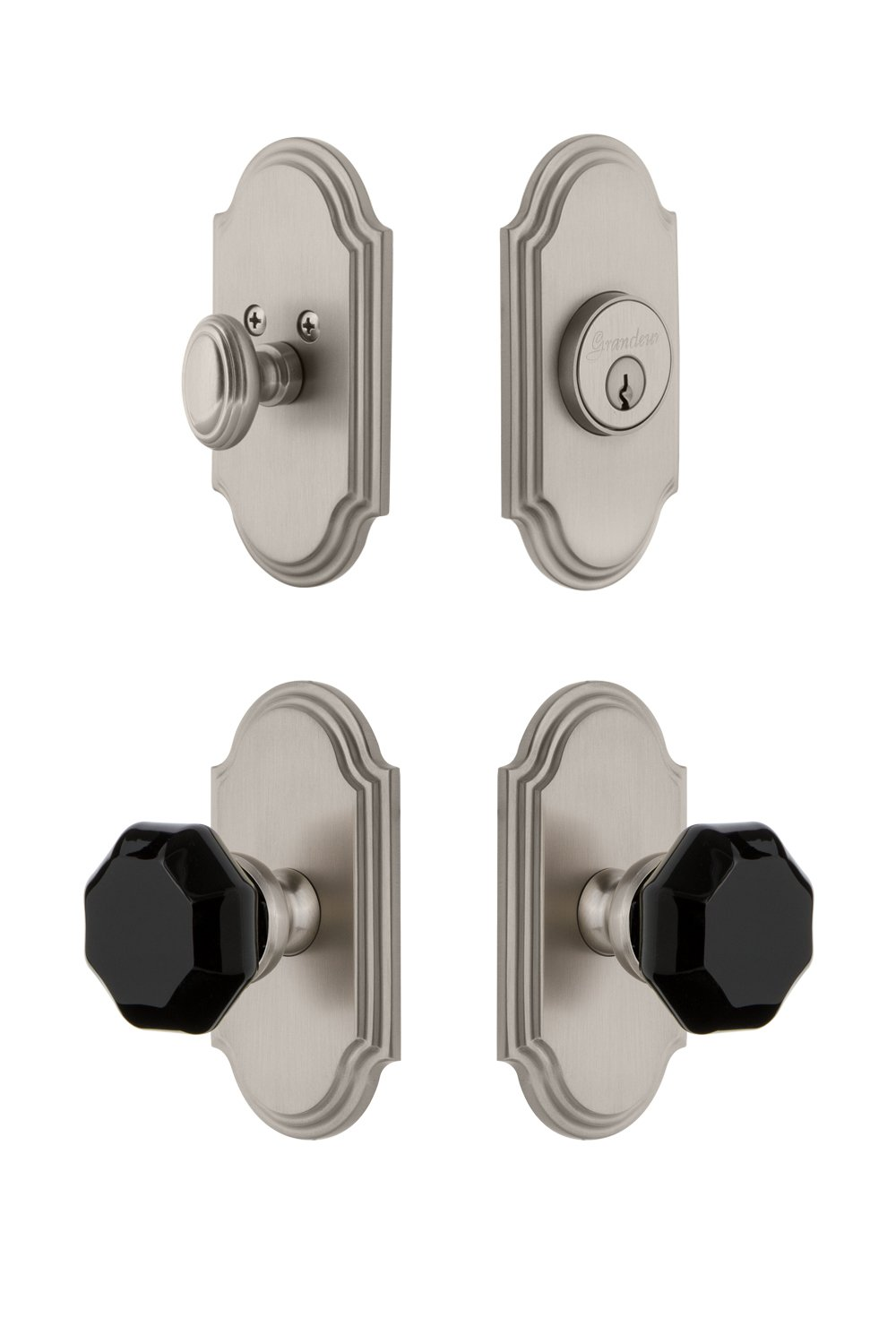 Grandeur Hardware 851099 Arc Plate with Lyon Knob and Matching Deadbolt Combo Pack Backset Size 2.75 Polished Nickel