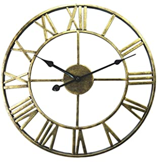 LPZ-CLOCK Vintage Silent Walls Clocks with Creative Hollow Design with Roman Numeral Display for