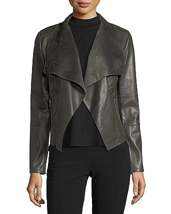 5c2182f48 Bagatelle Women's Long-Sleeve Faux-Leather Draped Jacket