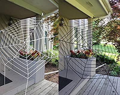 Halloween 2 Pack 11ft Mega Spider Web for Halloween Outdoor Decoration - 1 Black and 1 White by Spooktacular Creations by Spooktacular Creations