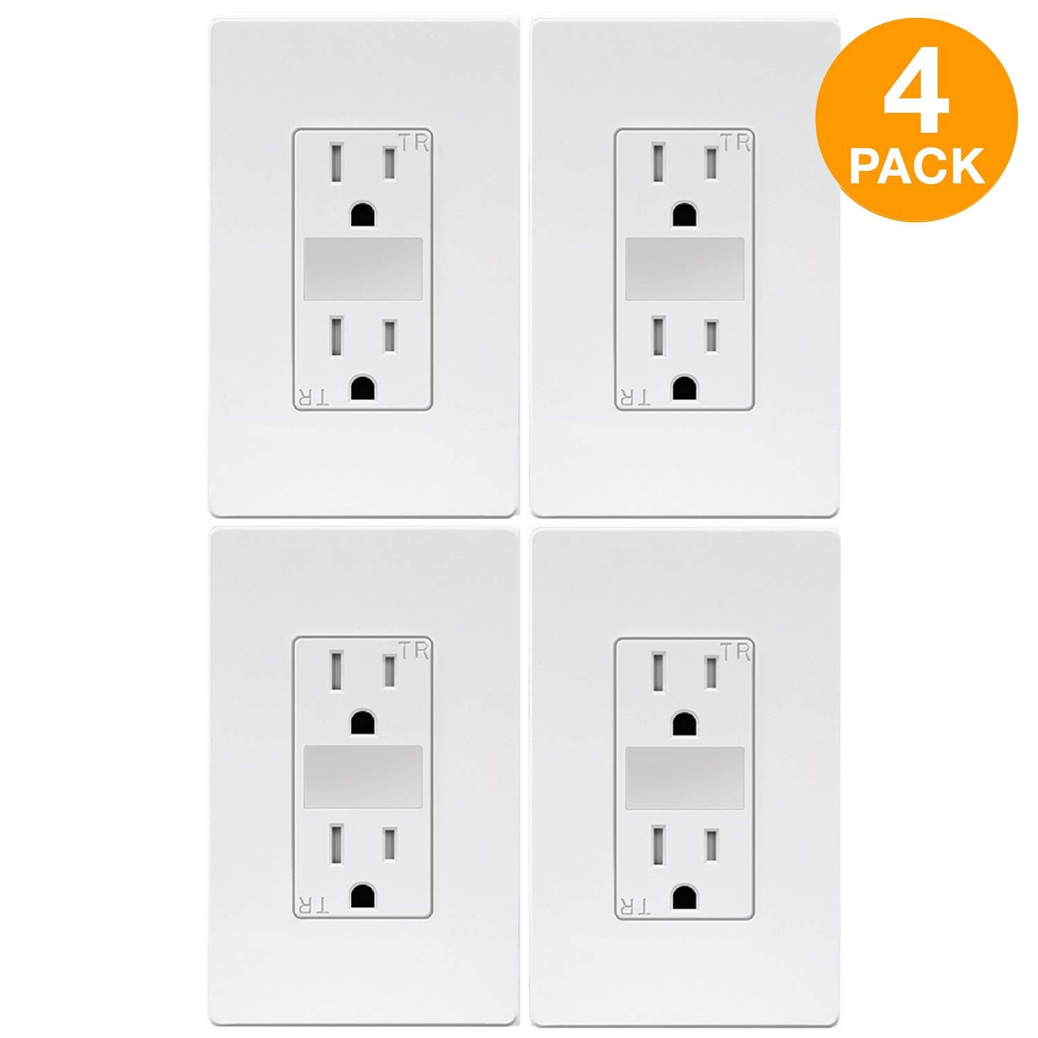 TOPGREENER LED Guide Light Receptacle, Automatic Night/Day Sensor Decorator Duplex Outlet Combination, 125VAC/15A Tamper-Resistant Receptacle, White Screwless Wall Plate Included, TG215TRGL (4 Pack)