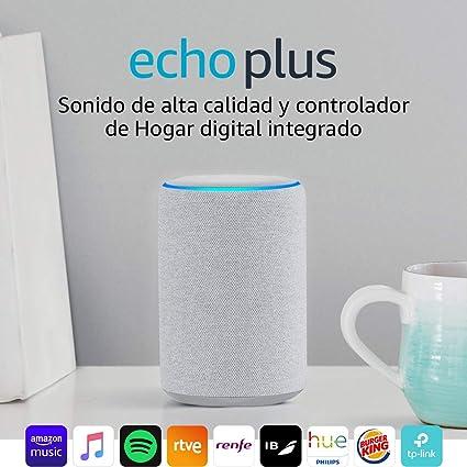Echo Plus (2.ª generación) - Sonido de alta calidad y controlador de Hogar digital integrado, tela de color gris claro: Amazon.es