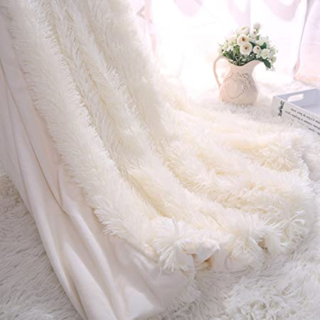Faux Fur Throw Blanket For Bed Sofa Couch Cozy With Fluffy Shaggy Cool White Fluffy Throw Blanket