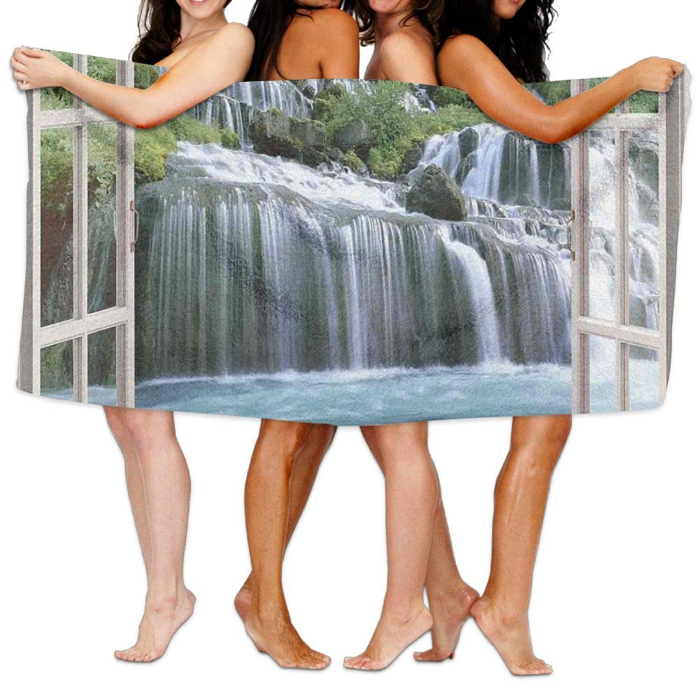 Haixia Highly Absorbent Bath Towels Beach/Bath/Pool Towel 51.2'' X 31.5'' House Decor Majestic Waterfall Landscape Through A Window Imaginary Secret Paradise at Home Decor Full Blue Green