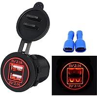 myonly impermeable Dual Puerto USB Cargador Socket Power Outlet 2.1A & visualización digital de 2,1A con Luz LED azul para coche barco Motorcycle Marino Mobile, Rojo