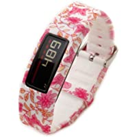 Moretek Wristband Strap for Garmin Vivofit 2 Vivofit2 Replacement Band with Clasps Fitness Silicone Bands Suitable to All Sizes Pink butterfly
