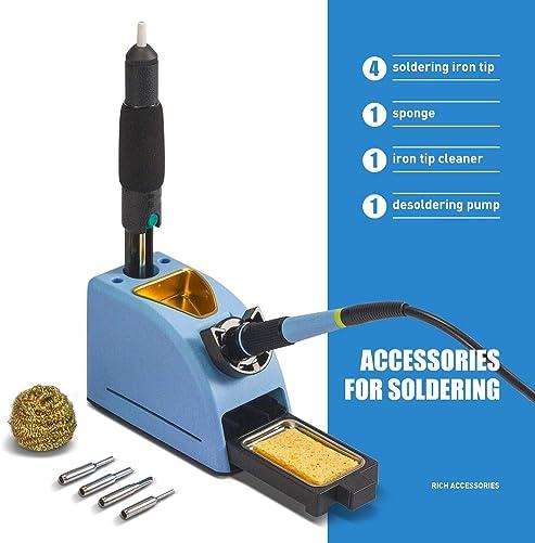 Soldering Iron Station Kit – 110V 60W Digital LED Soldering Station Temperature Adjustable 10 Minute Sleep Function Welding Tools for DIY Hobbyist Professional Solder Jobs