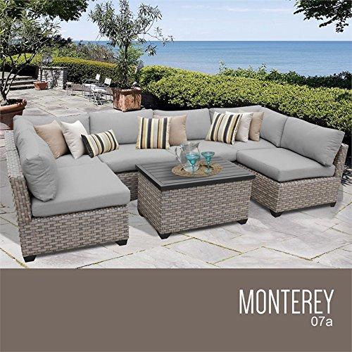 TK Classics MONTEREY-07a-GREY Monterey 7 Piece Outdoor Wicker Patio Furniture Set, Grey