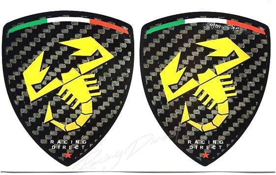 Racing Direct Aufkleber Fiat Abarth 2 Stück Carbon Look Mit Gelben Logos Zubehör Auto Deko Für 500 595 Punto 124 Spider Auto