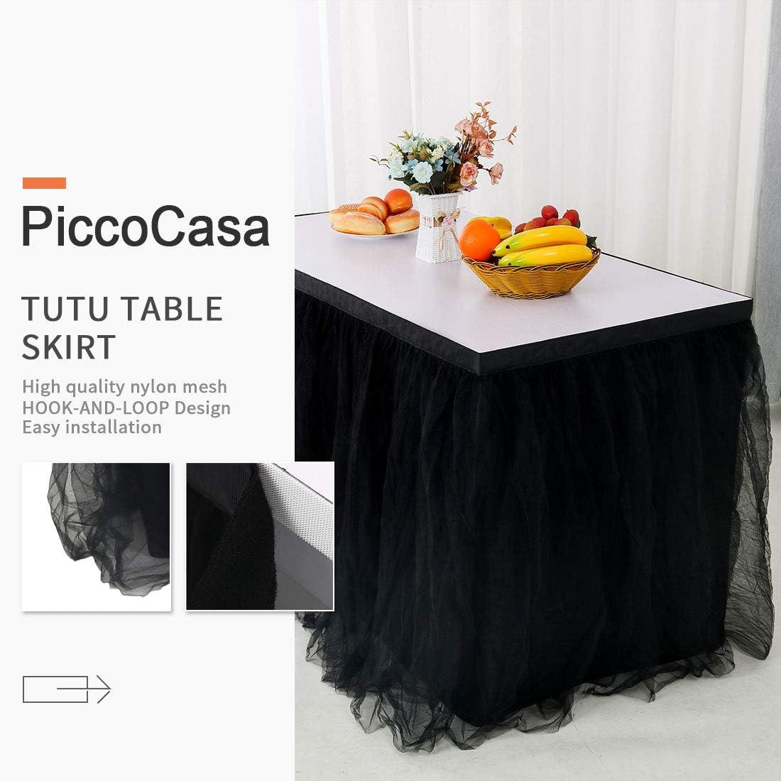 PiccoCasa Jupe de table tutu en tulle Noir 274 x 76 cm