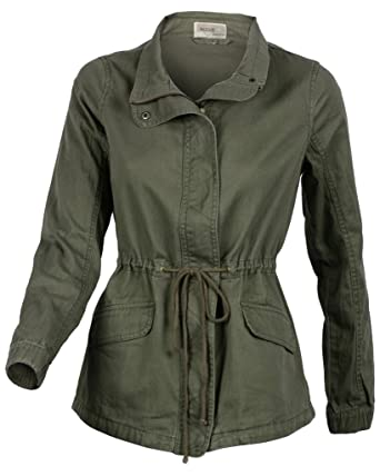 90efcfff14680 Women s Premium Vintage Wash Olive Green Lightweight Military Fashion Twill  Jacket Small