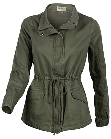 Women's Premium Vintage Wash Olive Green Lightweight Military ...