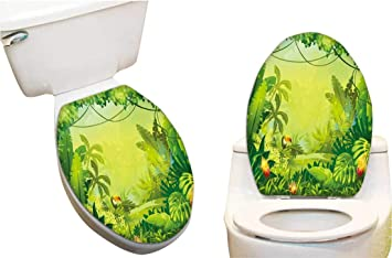Terrific Amazon Com Waterproof Toilet Seat Sticker Jungle Tou Flower Caraccident5 Cool Chair Designs And Ideas Caraccident5Info