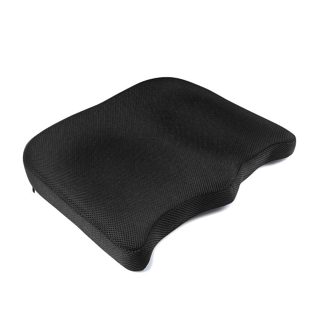 ヒップ自宅で隣接するganbalzo ラバーサポート 腰痛クッション 背もたれクッション 黒 SK-001