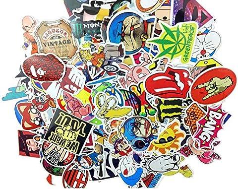 AOBOR (200 pack)Random Music Film Vinyl Skateboard Guitar Travel Case Sticker Lot Pack Decals (Decal Stickers Guitar)