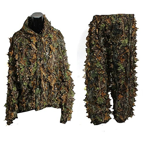 [Leaf Ghillie Suit Woodland Camo Camouflage Clothing 3d Jungle Hunting Free Size] (Ghillie Suit Costume Youth)