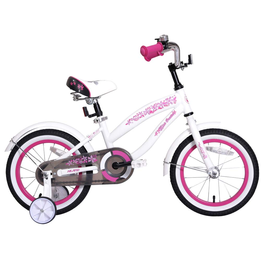 HILAND 16 Inch Kids Bike for 4 5 6 Years Girls, Girls Bicycle with Training Wheels, Children's Beach Cruiser Bike, Gift for Girls, White Kids Cycle