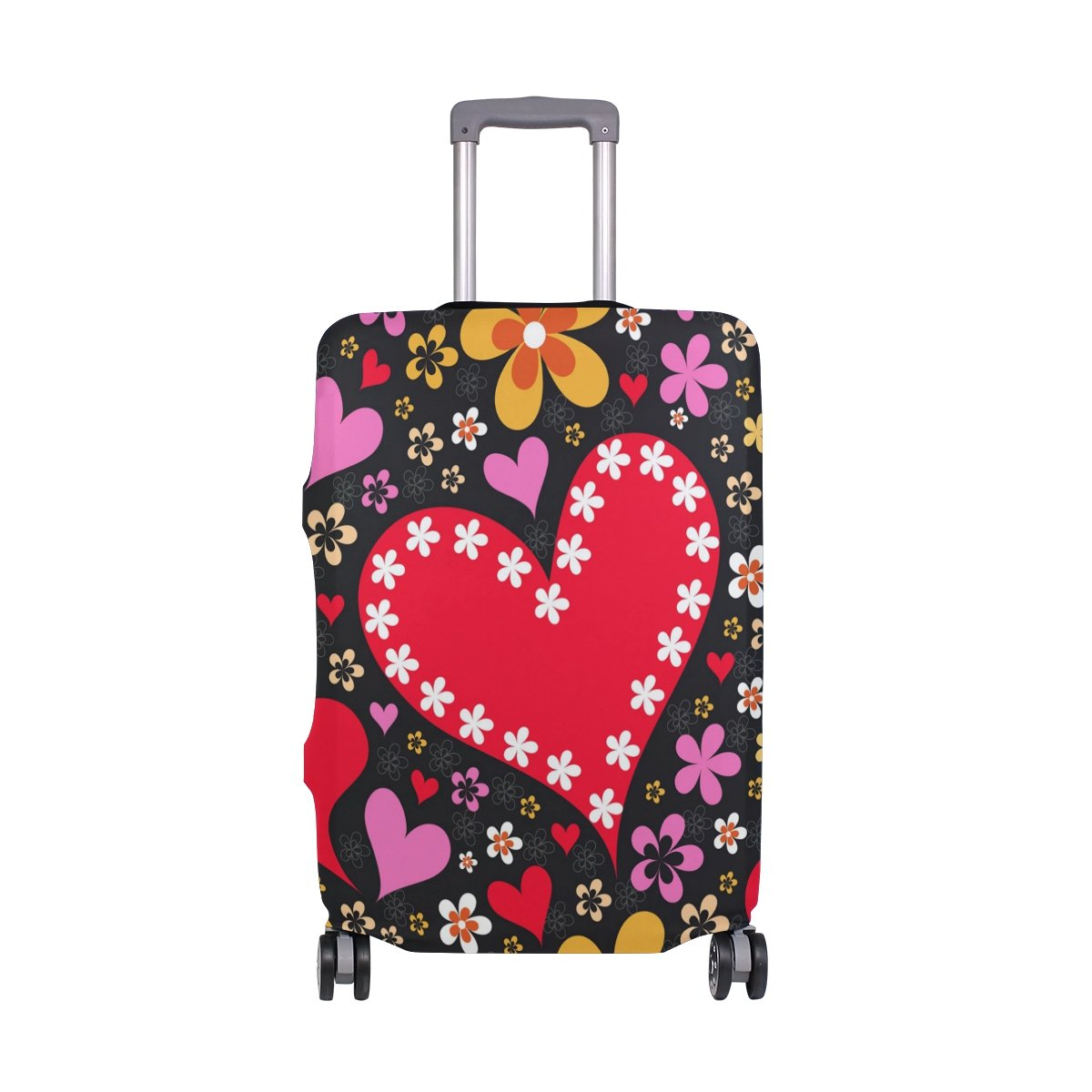 Hippie Love Birthday Valentines Heart Floral Flowers Suitcase Luggage Cover Protector for Travel Kids Men Women