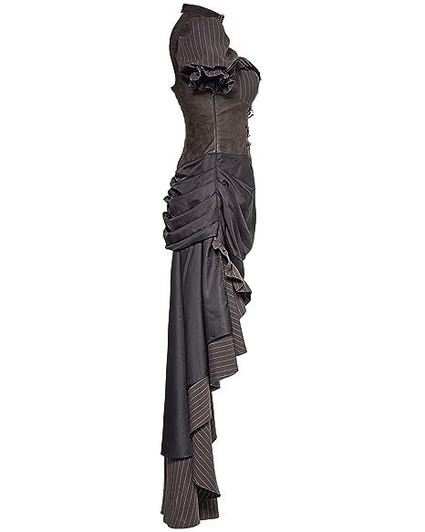 Punk Rave Steampunk Dress Long Brown Faux Leather Black Pinstripe VTG  Victorian: Amazon.co.uk: Clothing