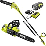 RYOBI RY40530-PS 14 in. 40-Volt Brushless Lithium-Ion Cordless Chainsaw and 10 in. Cordless Pole Saw, 4 Ah Battery and Charge