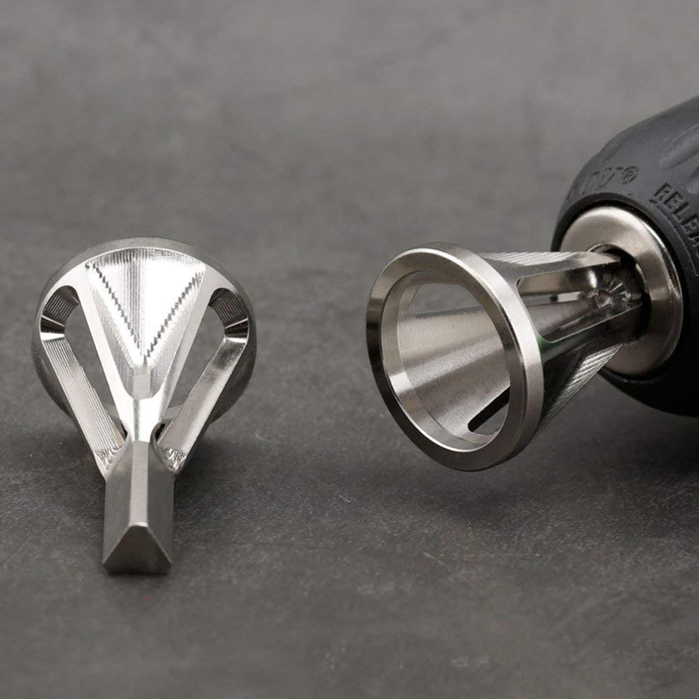 CHOULI Deburring External Chamfer Tool Stainless Steel Remover for Drill Bit Silver