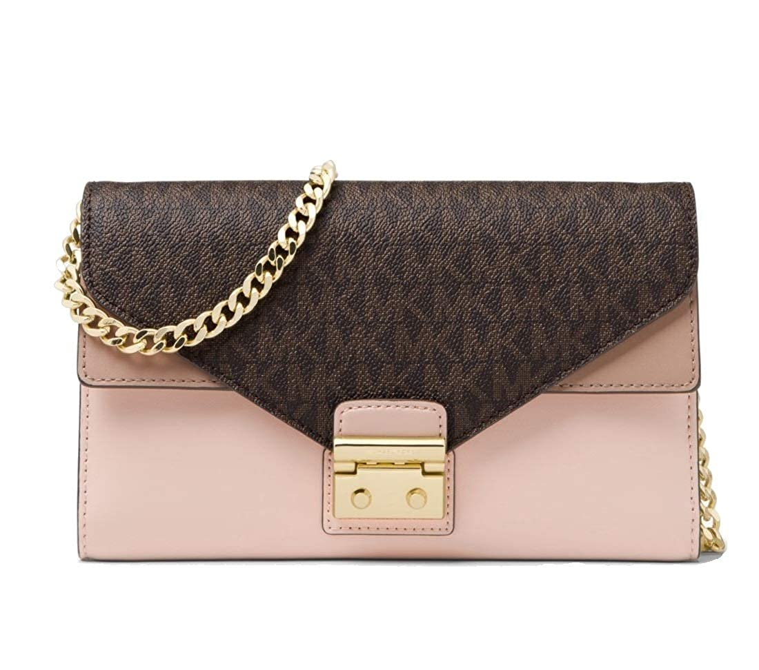 7dfe9cbde9af6e Michael Kors Sloan Logo and Leather Chain Wallet, Brown/Soft Pink/Fawm:  Handbags: Amazon.com