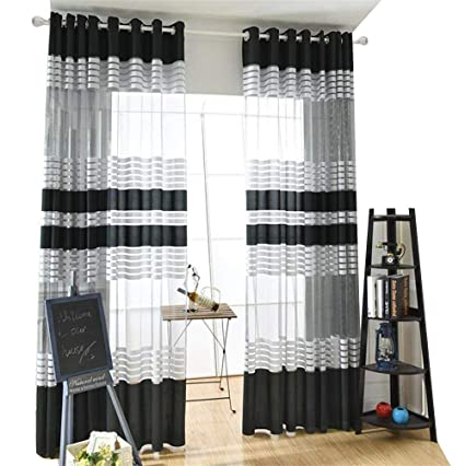 Black White Stripe Sheer Window Curtain Panels For Living Room Semi Sheer  Voile Curtains Grommet Top
