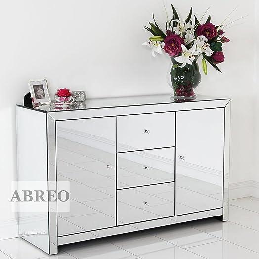 venetian mirror 2 door 3 drawer cupboard sideboard crystal handle mirrored furniture large sideboard