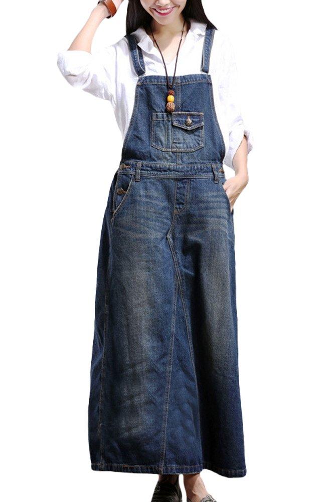 Mordenmiss Women's Baggy Bib Overalls Denim Cotton Harem Wide Leg Jumpsuits Style 8 Blue