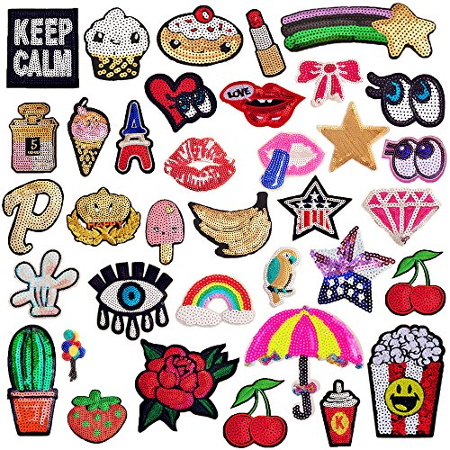 Patch Sequin (SIX VANKA Glitter Sequins Patches 36pcs Assorted Color Iron On Embroidered Applique DIY Decoration Sew on Patch for Jeans Clothing Jacket Handbag Shoes Backpacks Accessories)