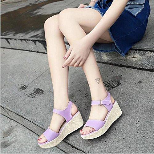 Neue Version ! Kaiki Damenschuhe Wedges Sandalen Plattform Open Toe Plattform Schuh Damen Schuhe Purple