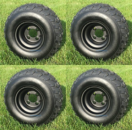 RHOX RXAL 18x8-8 All Terrain Golf Cart Tires and 8'' Black Steel Golf Cart Wheels Combo - Set of 4 by Golf Cart Tire Supply (Image #1)