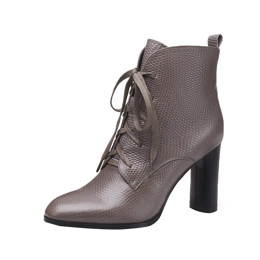 Grey MAYPIE Womens Toattra Leather Zipper Ankle Boots