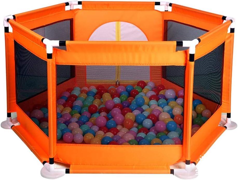 キッズ用ゲームフェンスキッズ用保護フェンス屋内遊び場安全なプレイベビーサークルオーシャンボールプール子供用ギフト (Color : ORANGE, Size : 129X129X66CM)