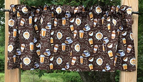 Coffee Shake Float Cup of Coffee Latte Love Pastry Cafe Beverage Brown Handcrafted Curtain Valance