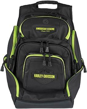 Harley-Davidson Sculpted Bar /& Shield Lime Deluxe Backpack Black BP2000S-LIMBLK